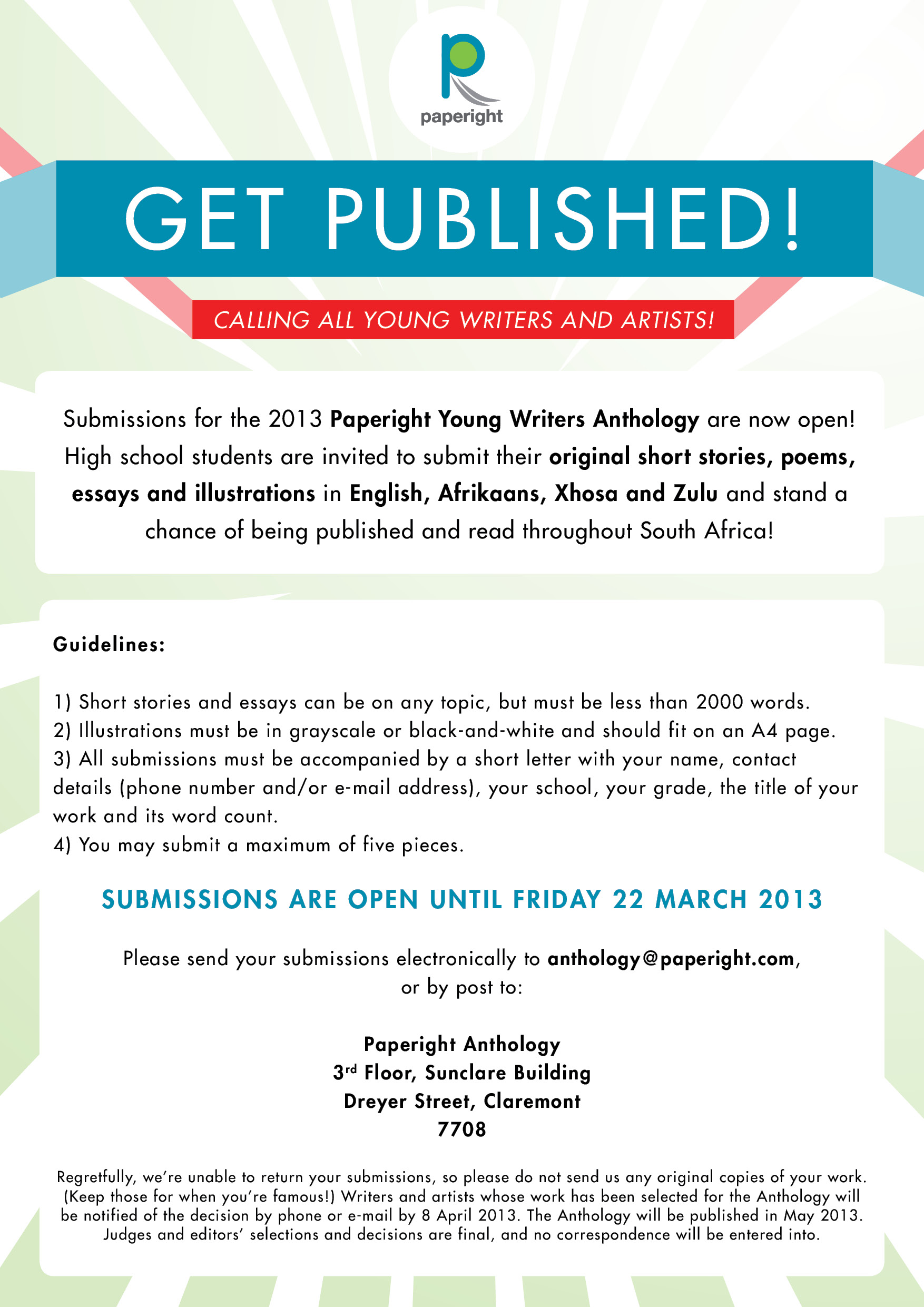 call for submissions paperight young writers anthology the call for submissions paperight young writers anthology 2013